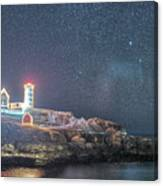 Starry Sky Of The Nubble Light In York Me Cape Neddick Canvas Print