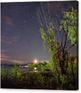 Starry Sky Over Lake Champlain New York Canvas Print