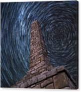 Startrails Over Kanza Monument In Kansas Canvas Print