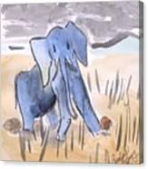 Startled Elephant Canvas Print