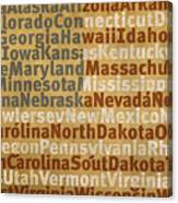 State Names American Flag Word Art Red White And Blue Canvas Print