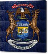 State Of Michigan Flag Recycled Vintage License Plate Art Version 1 Canvas Print