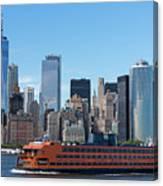 Staten Islan Ferry With Nyc Skyline Canvas Print