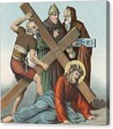 Station Ix Jesus Falls Under The Cross The Third Time Canvas Print