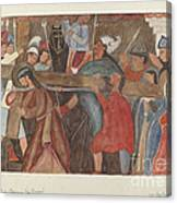 """Station Of The Cross No. 5: """"jesus Is Assisted In Carrying His Cross Canvas Print"""