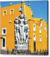 Statue And Yellow Theater Canvas Print