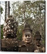 Statue Heads Ankor Thom Canvas Print