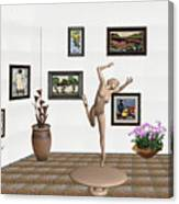 Statue Of A Dancing Girl On Ice 2 Canvas Print
