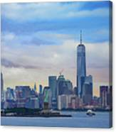 Statue Of Liberty And Manhattan Canvas Print