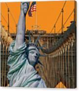 Statue Of Liberty - Brooklyn Bridge Canvas Print