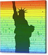 Statue Of Liberty Rainbow Canvas Print