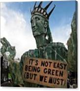 Statue Of Liberty Street Puppet At Political Demonstration Canvas Print