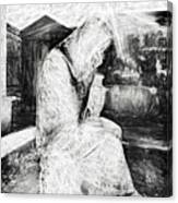 Statue Of Weeping Woman, Lafayette Cemetery, New Orleans In Black And White Sketch Canvas Print