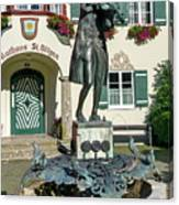 Statue Of Young Wolfgang Amadeus Mozart In St. Gilgen, Austria Canvas Print