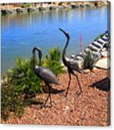 Statueque Cranes Canvas Print