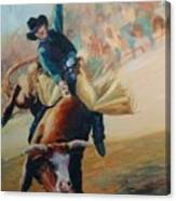 Staying In The Middle Rodeo Bucking Bull Canvas Print