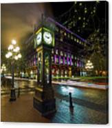 Steam Clock In Gastown Vancouver Bc At Night Canvas Print