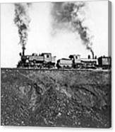 Steam Engines Pulling A Train Canvas Print