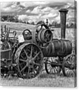 Steam Powered Tractor - Paint Bw Canvas Print