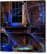 Steaming Cauldron In A Witch Cabin Canvas Print