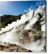 Steaming Hot Springs In Reykjadalur Iceland Canvas Print