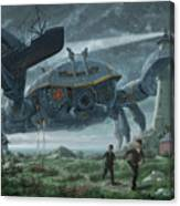 Steampunk Giant Crab Attacks Lighthouse Canvas Print