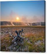 Steamy Sunrise In Yellowstone Canvas Print