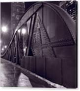 Steel Bridge Chicago Black And White Canvas Print