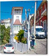 Steep Streets Up The Hills In Valparaiso-chile   Canvas Print