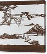Stencil With Pattern Of Seascape On White Ground Canvas Print