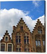Stepped Gables Of The Brick Houses In Jan Van Eyck Square Canvas Print