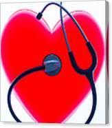 Stethoscope And Plastic Heart Canvas Print