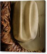 Stetson Hat And Cowboy Boot  Canvas Print