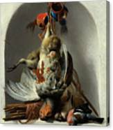 Stil Life With Birds And Hunting Gear In A Niche  Canvas Print
