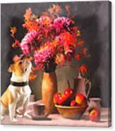 Still - Floral And Fruit Canvas Print