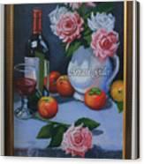 Still Life 1,rose N Wine Canvas Print