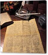 Still Life Of A Copy Of The Declaration Canvas Print