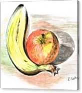 Still Life Of Apple And Banana  Canvas Print