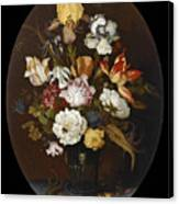 Still Life Of Flowers In A Glass Vase Canvas Print