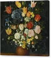 Still Life Of Flowers In A Stoneware Vase Canvas Print