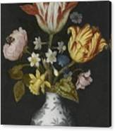 Still Life Of Flowers In A Wan-li Vase Canvas Print