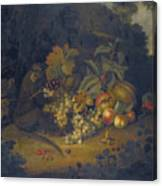 Still Life Of Fruit With A Monkey Canvas Print