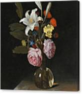 Still Life Of Roses Lilies And Other Flowers In A Glass Vase On A Marble Ledge Canvas Print