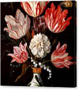 Still Life Of Variegated Tulips In A Ceramic Vase With A Wasp A Dragongly A Butterfly And A Lizard Canvas Print