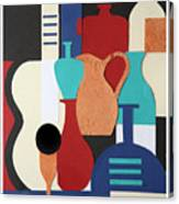 Still Life Paper Collage Of Wine Glasses Bottles And Musical Instruments Canvas Print