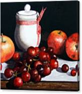 Still Life 'preserve Pot And Fruit' Canvas Print