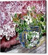 Still Life Vase And Lace Watercolor Painting Canvas Print
