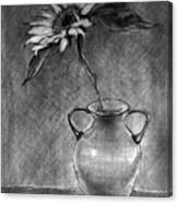 Still Life - Vase With One Sunflower Canvas Print