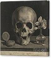 Still Life With A Skull And A Vase Of Roses Canvas Print