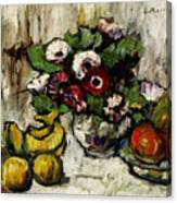Still Life With Anemones And Fruit Canvas Print